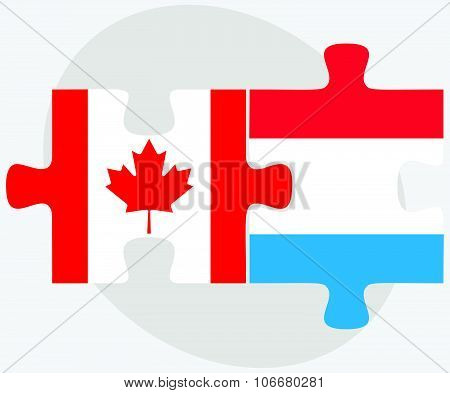 Canada And Luxembourg Flags
