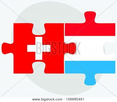 Switzerland And Luxembourg Flags