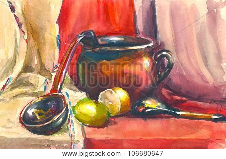 watercolor still life in the classical Russian style