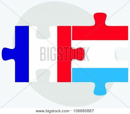 France And Luxembourg Flags