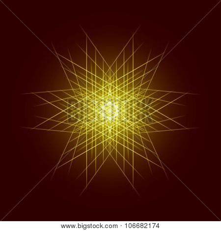 Energy power bright burst star space explosion pattern geometrical abstract light background gold