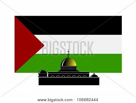 flag of Palestine and landmark.