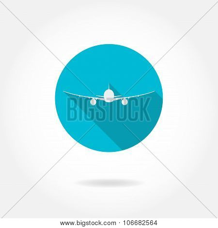 Aircraft or airplane flat icon isolated on white background. Vector illustration.