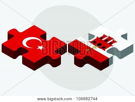 Turkey And Gibraltar Flags
