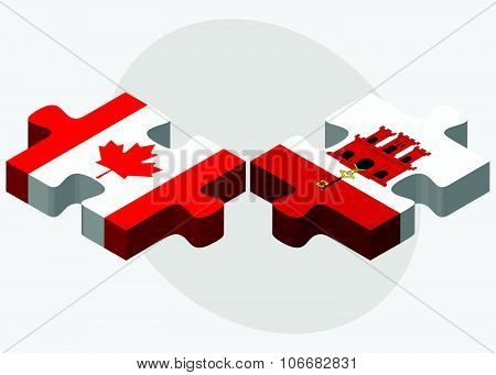 Canada And Gibraltar Flags