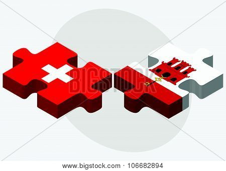 Switzerland And Gibraltar Flags