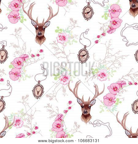 Romantic Vector Pattern With Reindeer, Orchids, Roses, Medallions And Branches
