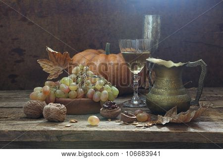 Still-life With Wine, Walnuts And Grapes