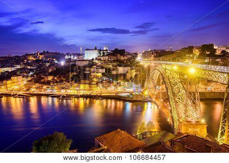 Ribeira And The Dom Luiz Bridge At Night, Porto, Portugal