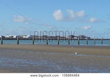 Nordic sea shore with windmills