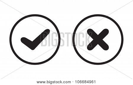 Yes and No check marks on circles. Black symbols on white background. Vector illustration. Infograph