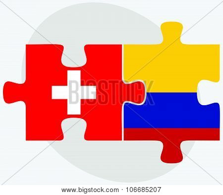 Switzerland And Colombia Flags