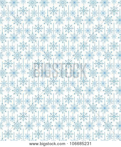 Seamless Hanging Winter Snow Flakes Background Pattern