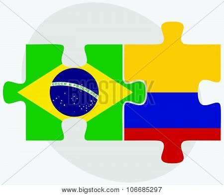 Brazil And Colombia Flags