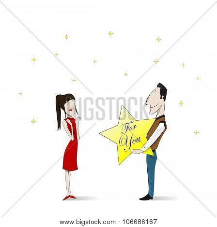 Loving  Couple. Vector Illustration.
