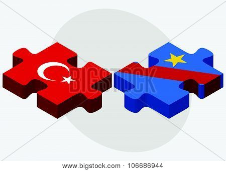 Turkey And Democratic Republic Congo Flags