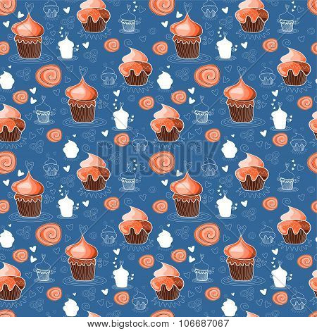 Seamless Pattern With Sweet Cupcakes. Vector Illustration.