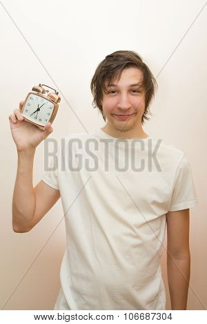 Funny White Man Hold Mechanical Alarm Clock