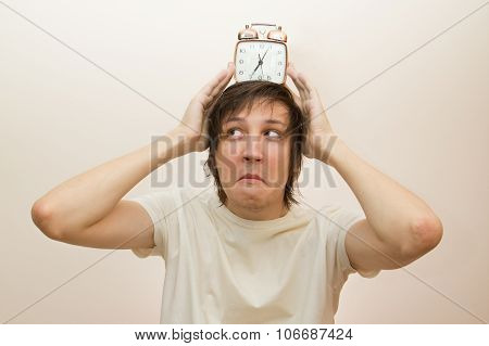 Funny White Man Hold On Head Alarm Clock