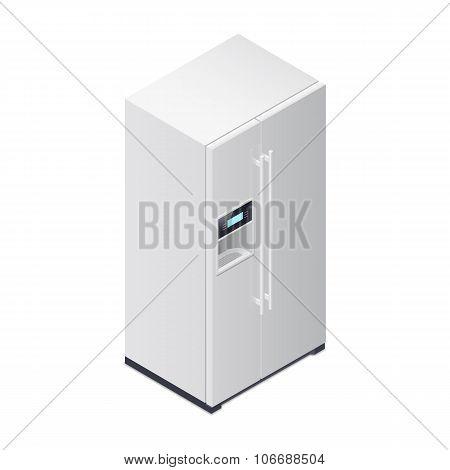 Fridge With Water Dispenser Isometric Icon