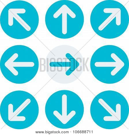 Arrow icon set: down, right, left, up. Flat Design. Vector illustration. Web design elements.