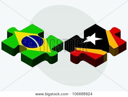 Brazil And East Timor Flags