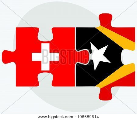 Switzerland And East Timor Flags