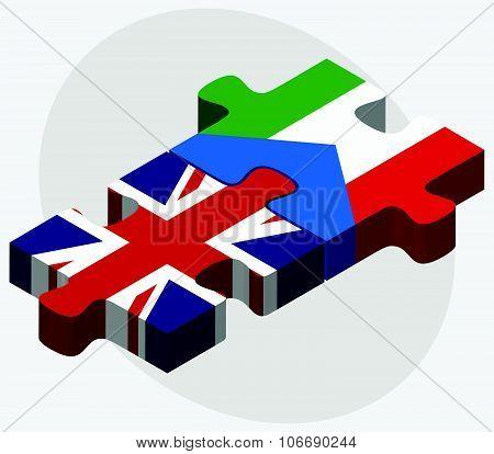 United Kingdom And Equatorial Guinea Flags