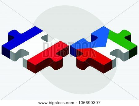 France And Equatorial Guinea Flags