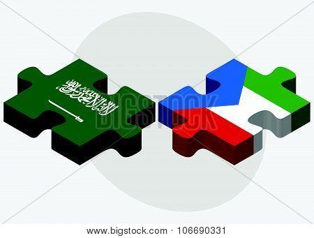 Saudi Arabia And Equatorial Guinea Flags