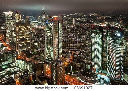 Skyscrapers In Financial District Of Frankfurt On Main, Germany, At Night