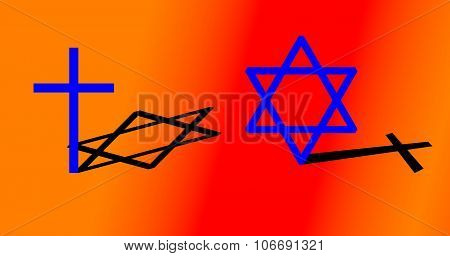 Big cross and big hexagram with different shadow. Colorful background.