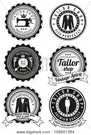Set of black round badges for tailor shops.