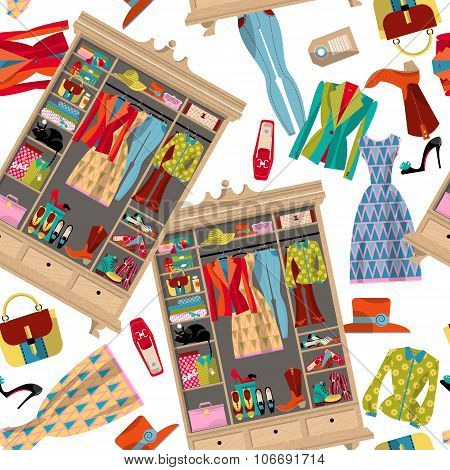 Wardrobe For Cloths. Closet With Clothes, Bags, Boxes And Shoes. Seamless Background Pattern.