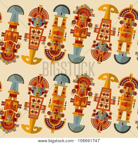 Inca Ceremonial Knifes. Tumi.  Seamless Background Pattern.