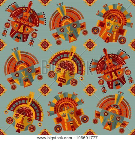 Inca Masks. Seamless Background Pattern.
