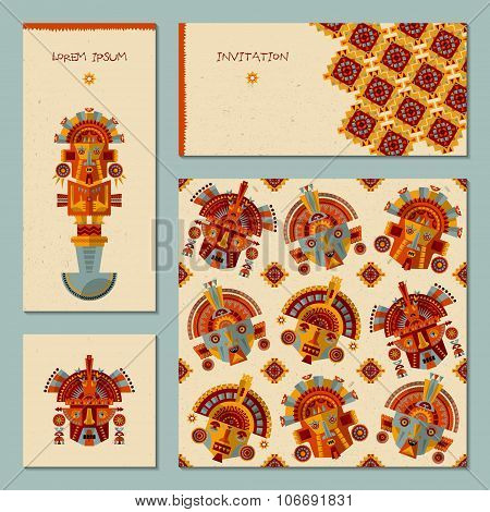 Set Of 4 Universal Cards With Inca Masks. Template. Party, Birthday, Holiday.