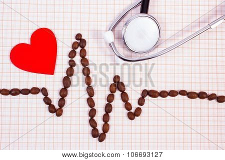 Cardiogram Line Of Coffee Grains, Stethoscope And Red Heart, Medicine And Healthcare Concept