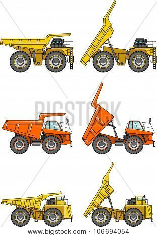 Set of off-highway trucks isolated on white background in flat style. Heavy mining trucks. Vector il