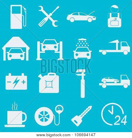 Car service icon set. Auto wash, gas station, car repair. Vector illustration.