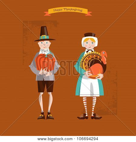 Boy And Girl Pilgrims With Turkey And Pumpkin. Thanksgiving Card.