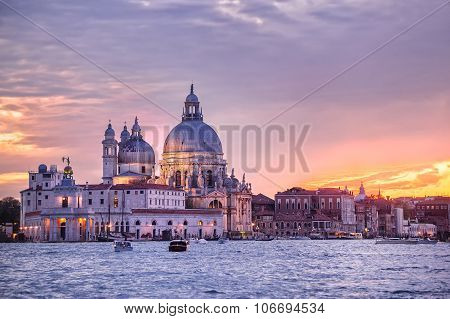 Santa Maria Della Salute Church On Sunset, Venice, Italy