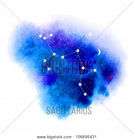 Astrology sign Sagittarius on watercolor