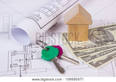 House Of Wooden Blocks, Keys And Currencies Dollar On Construction Drawing, Building House Concept