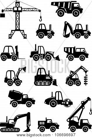 Set of silhouette toys heavy construction machines.