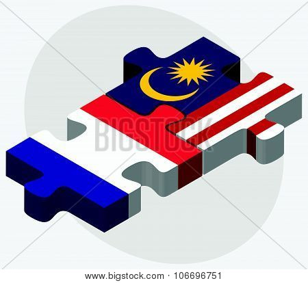 France And Malaysia Flags