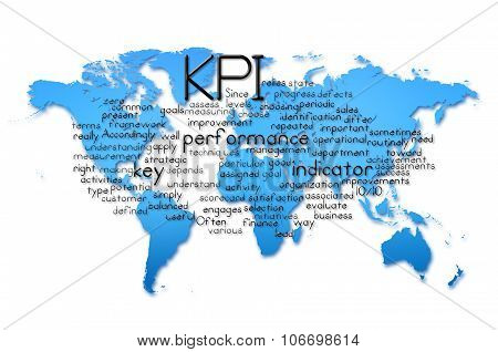 Word Cloud Of Kpi With World Map Background