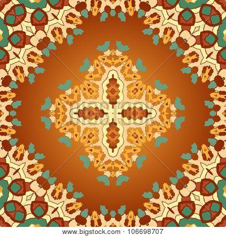 Brown and orange color seamles arabian print.