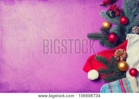 Santa Clous Clothes And Christmas Branch