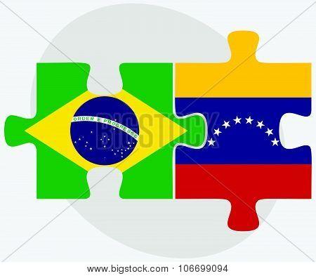 Brazil And Venezuela Flags